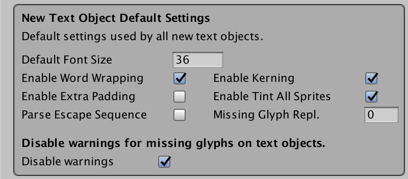 Settings, TextMesh Pro Documentation