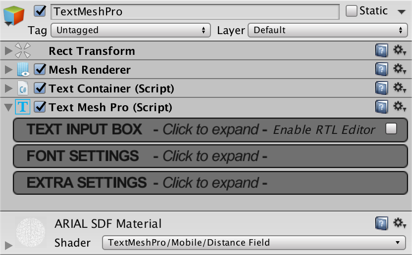 Text Components, TextMesh Pro Documentation